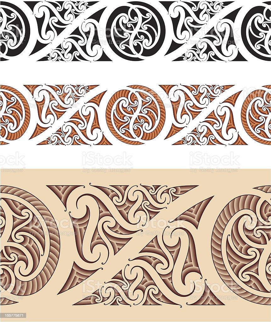 Maori styled seamless pattern vector art illustration