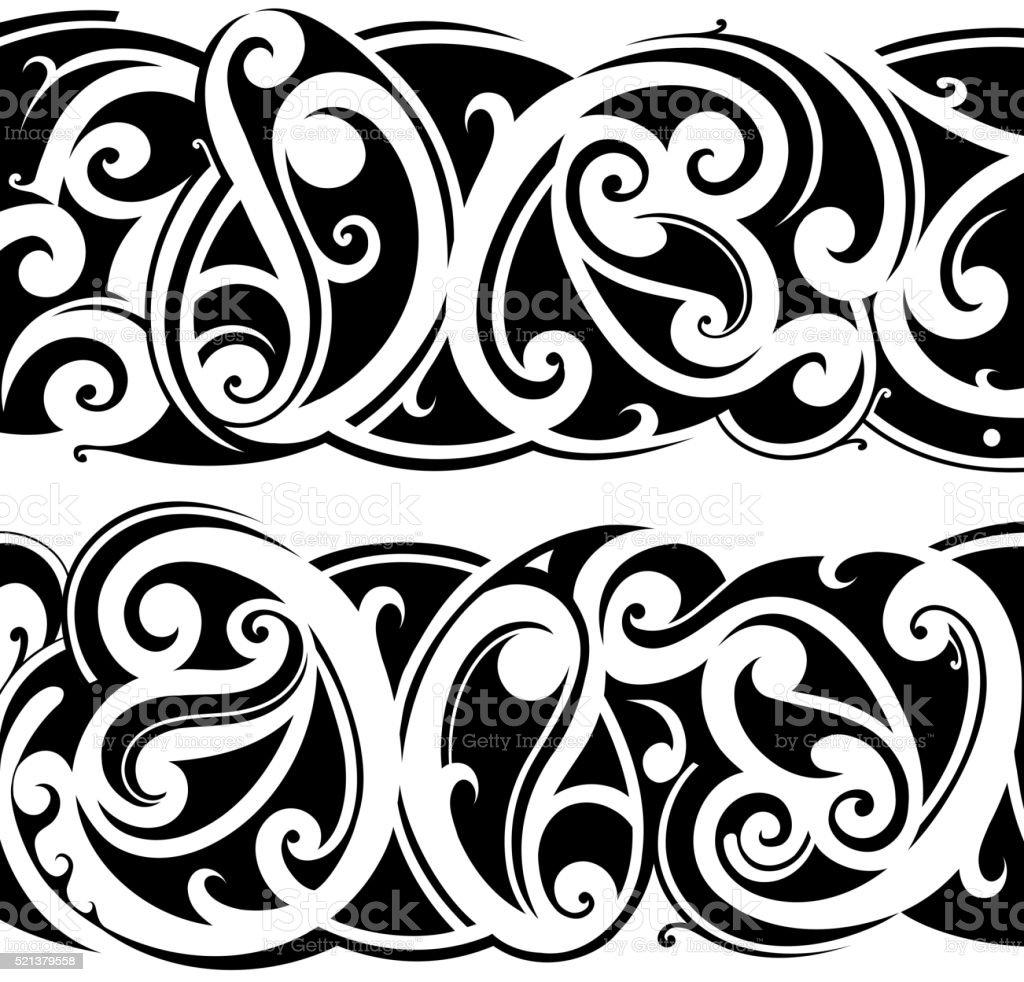 Maori tattoo set vector art illustration