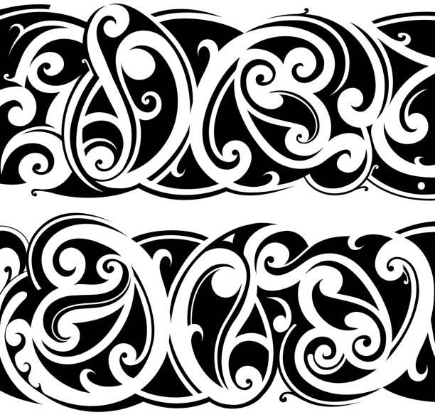 maori tattoo-set - maori tattoos stock-grafiken, -clipart, -cartoons und -symbole