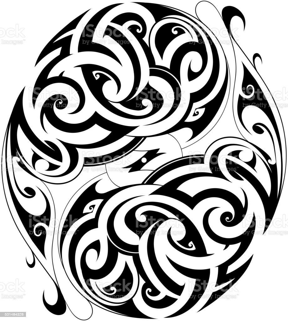 Maori tattoo shape vector art illustration
