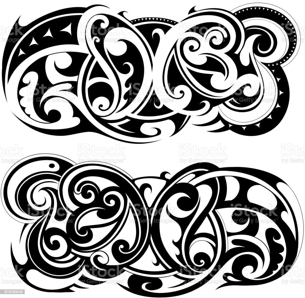 Ilustracion De Maories Del Tatuaje Tribales Y Mas Banco De Imagenes - Fotos-de-maories