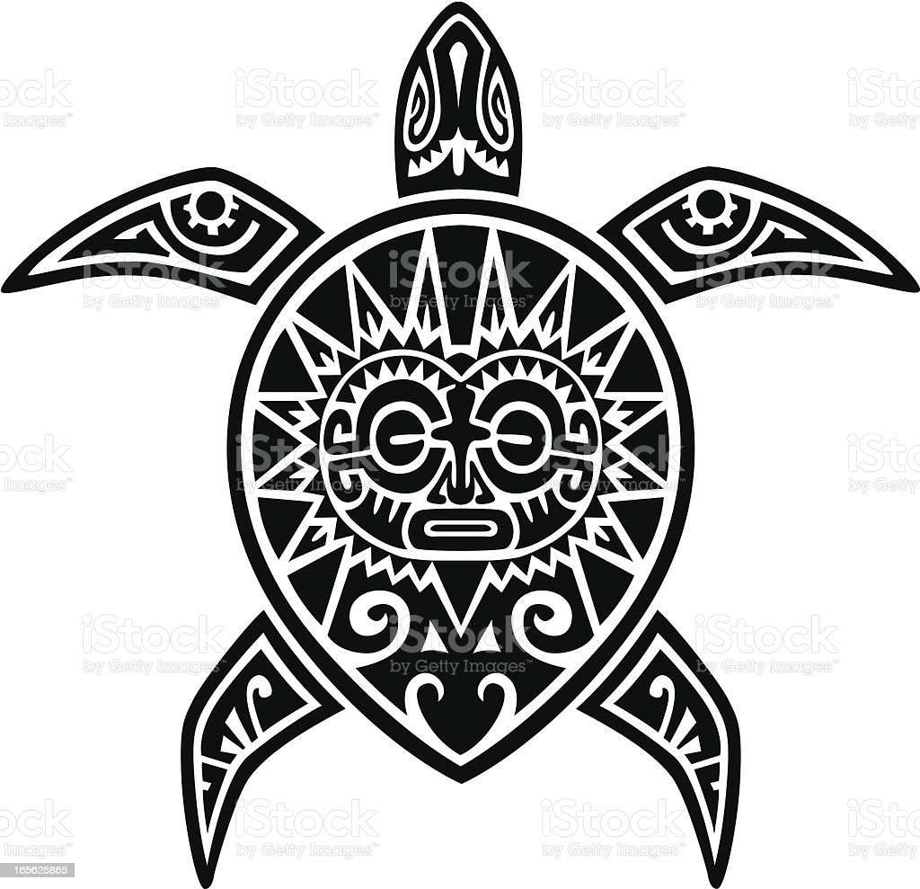 Maori Turtle Tattoo vector art illustration