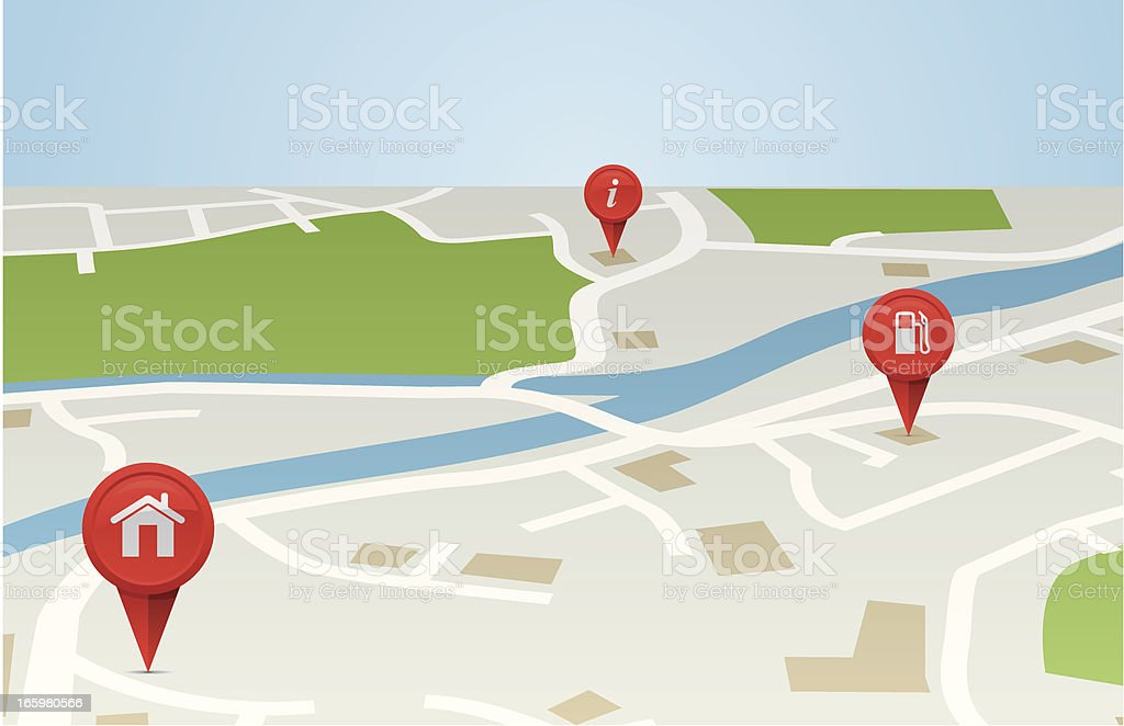 Map 3D vector art illustration