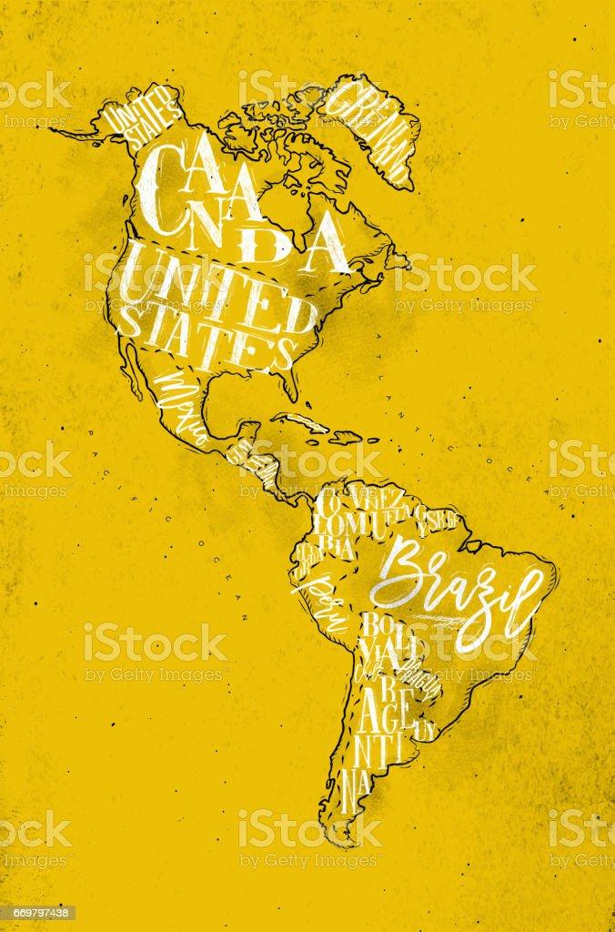 Vintage de Aamerica mapa amarillo - ilustración de arte vectorial