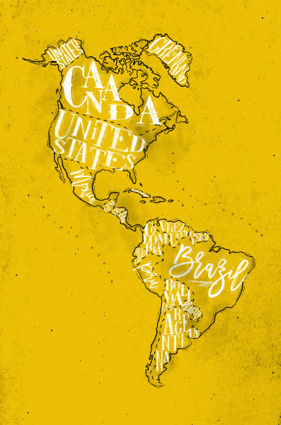 map aamerica vintage yellow - south america maps stock illustrations, clip art, cartoons, & icons