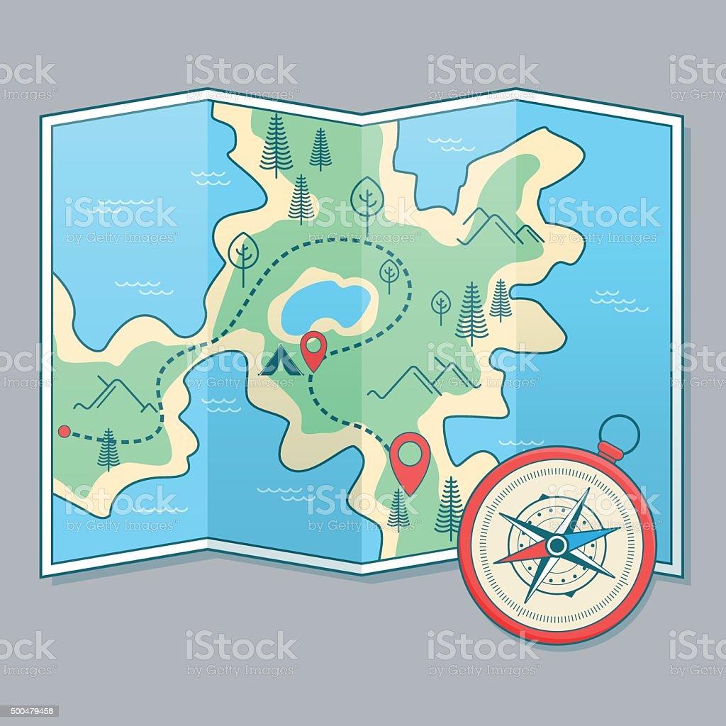 Mapa e uma bússola - ilustração de arte em vetor