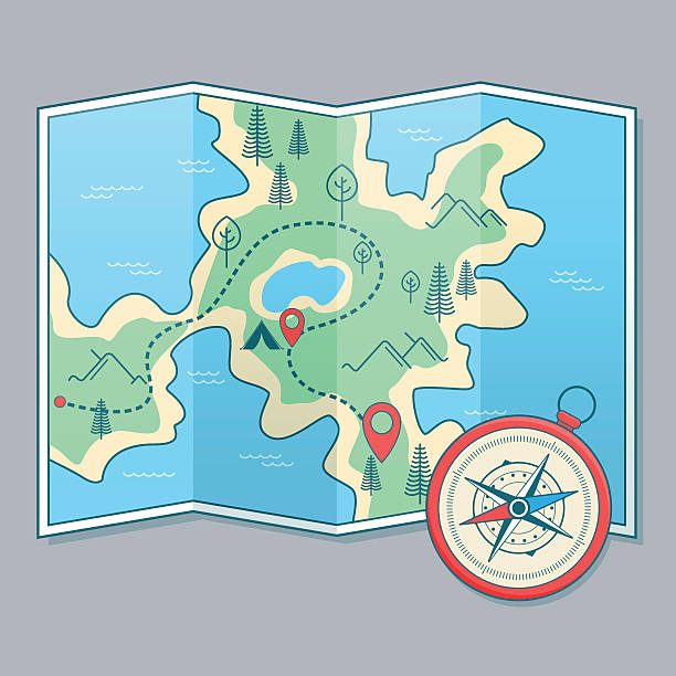Map and compass Map and compass adventure stock illustrations