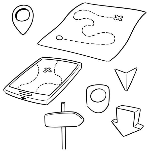 map and direction post – artystyczna grafika wektorowa