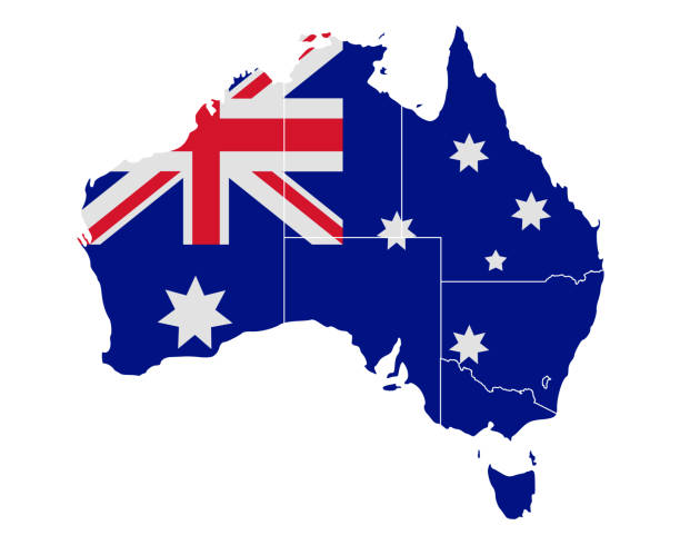 map and flag of australia - western australia stock illustrations