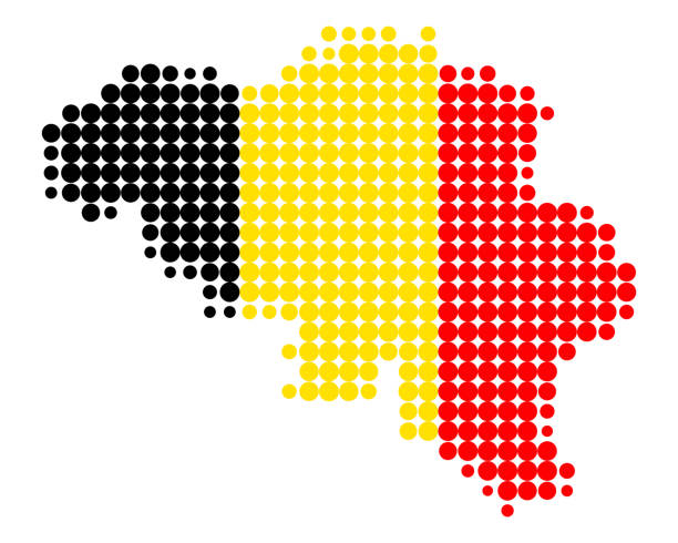 Map and flag of Belgium vector art illustration