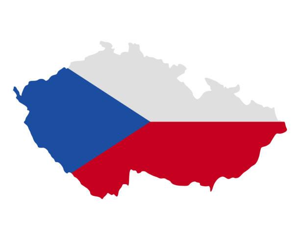 map and flag of czech republic - republika czeska stock illustrations