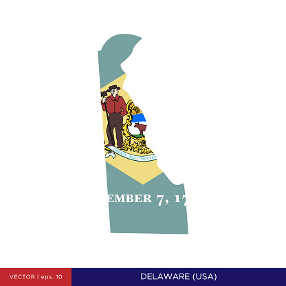 Map and Flag of Delaware (USA) Vector Stock Illustration Design Template.