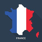Map and flag of France isolated on blue background with