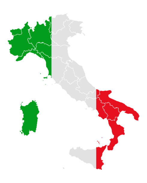 illustrazioni stock, clip art, cartoni animati e icone di tendenza di map and flag of italy - calabria map