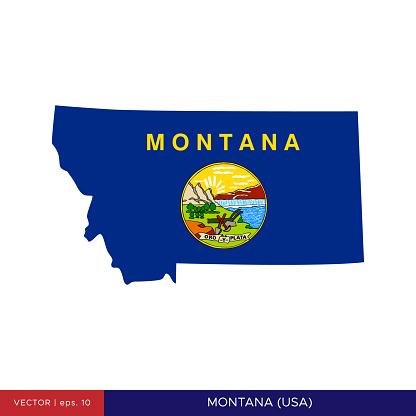 Map and Flag of Montana (USA) Vector Stock Illustration Design Template.