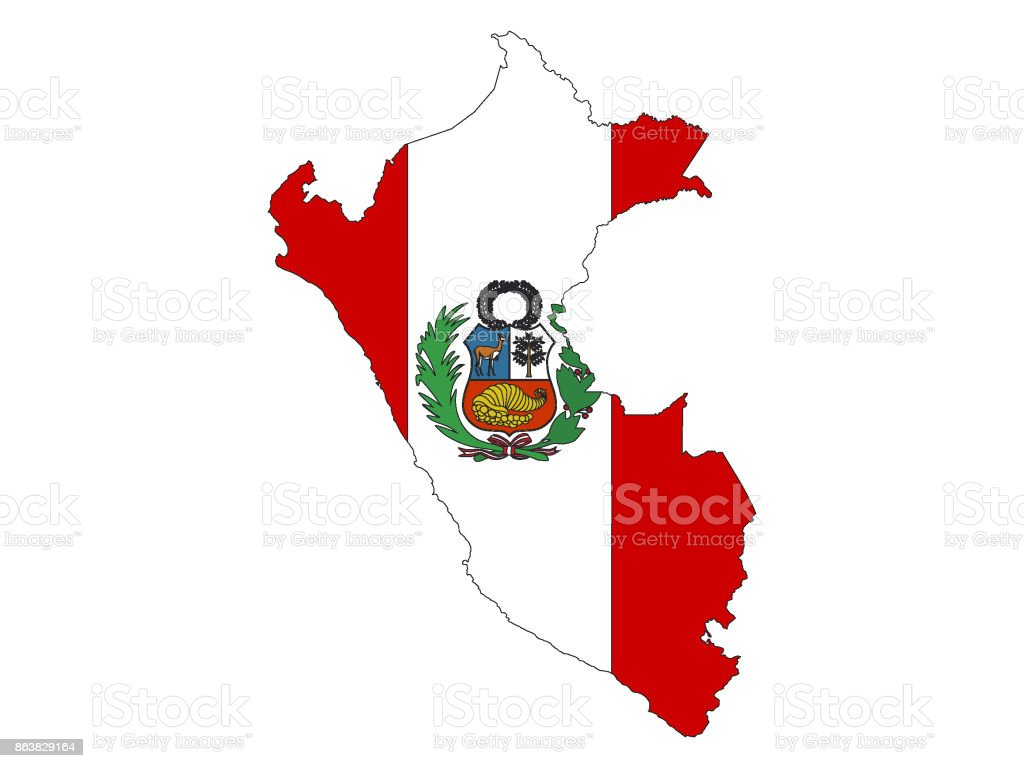 Map and flag of Peru vector art illustration