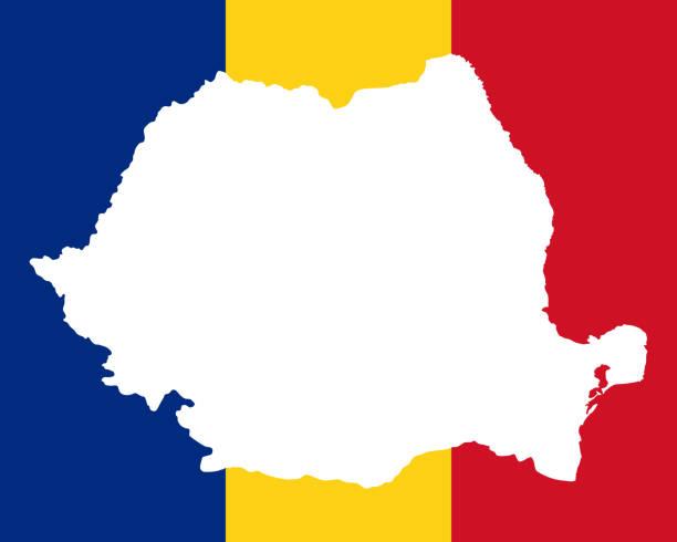 Map and flag of Romania Map and flag of Romania romania stock illustrations