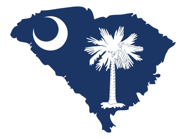 Map and Flag of South Carolina Vector illustration of Map and Flag of South Carolina south carolina stock illustrations