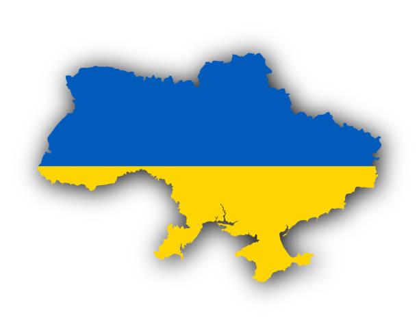 マップとフラグウクライナ - ウクライナ点のイラスト素材/クリップアート素材/マンガ素材/アイコン素材