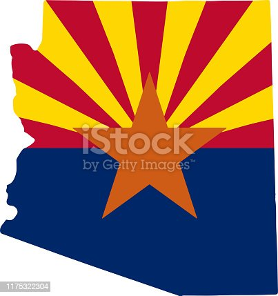 Map and flag of US State of Arizona Vector illustration eps10.