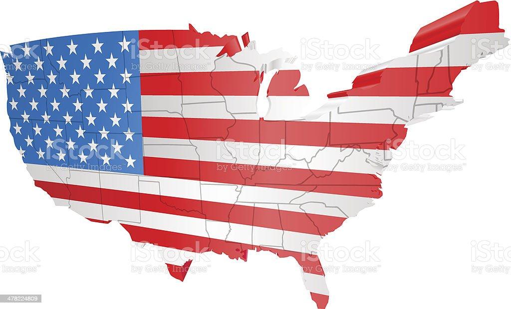 USA map and flag royalty-free stock vector art