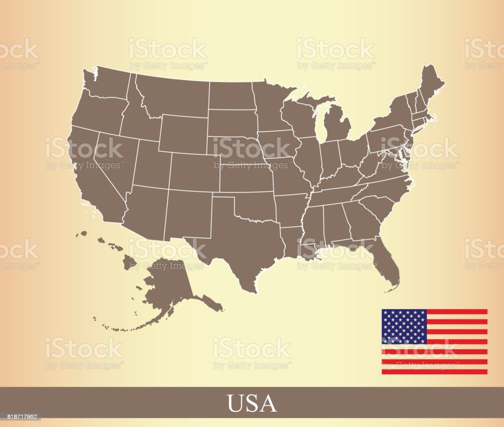 Us Map And Flag Vector Outline Illustration In A Creative Old - Us map outline vector