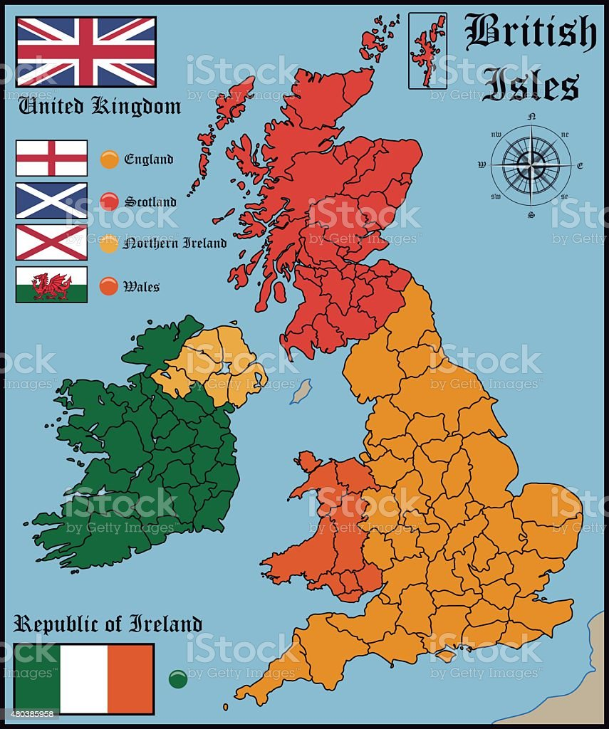Map and Flags of British Isles
