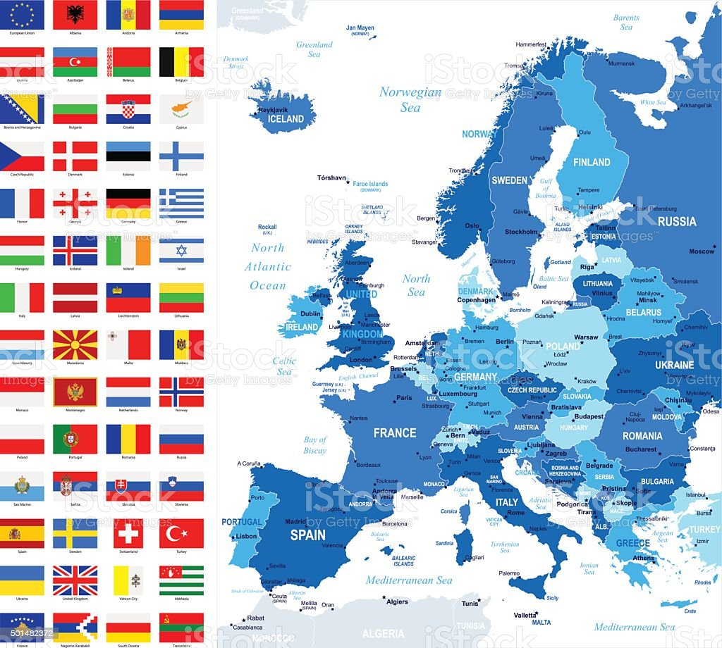 Map and Flags of Europe - Full Vector Collection vector art illustration