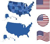 USA Map and Flags Set