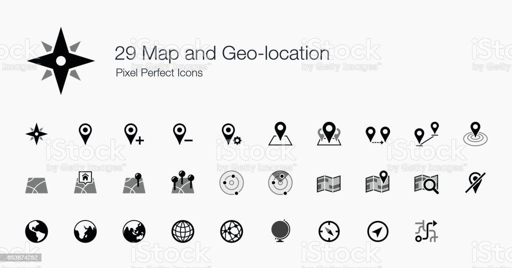 29 icônes parfaites carte et géolocalisation Pixel - Illustration vectorielle