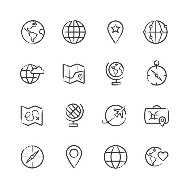 Map and Globe Icons — Sketchy Series vector art illustration