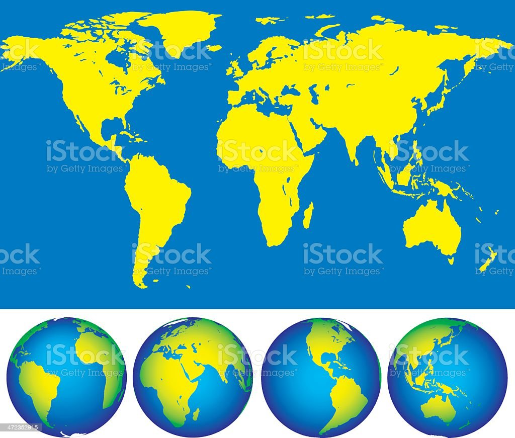Map and globes royalty-free stock vector art