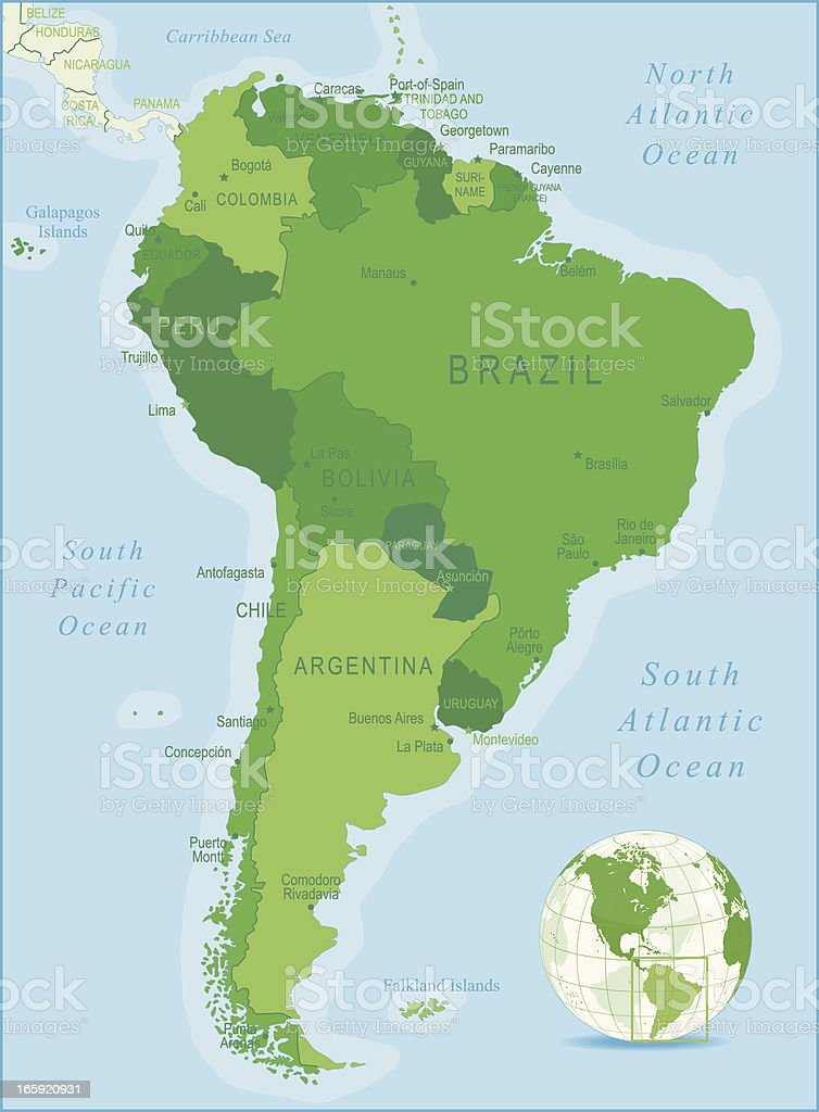 Map And Key Of South America And Surrounding Oceans Stock Vector - Argentina map key