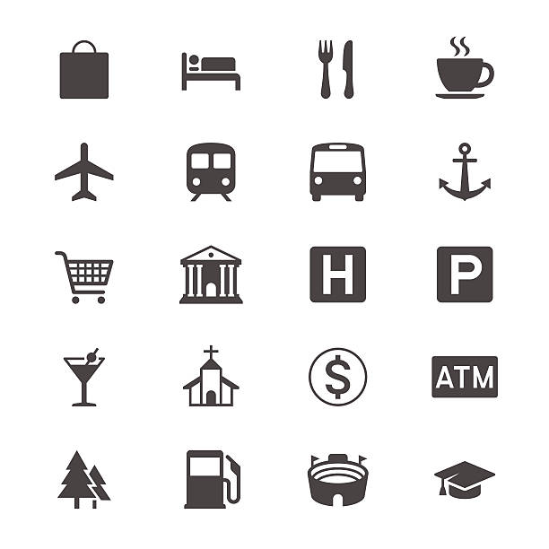 Map and location flat icons Simple vector icons. Clear and sharp. Easy to resize. No transparency effect. EPS10 file. airport symbols stock illustrations