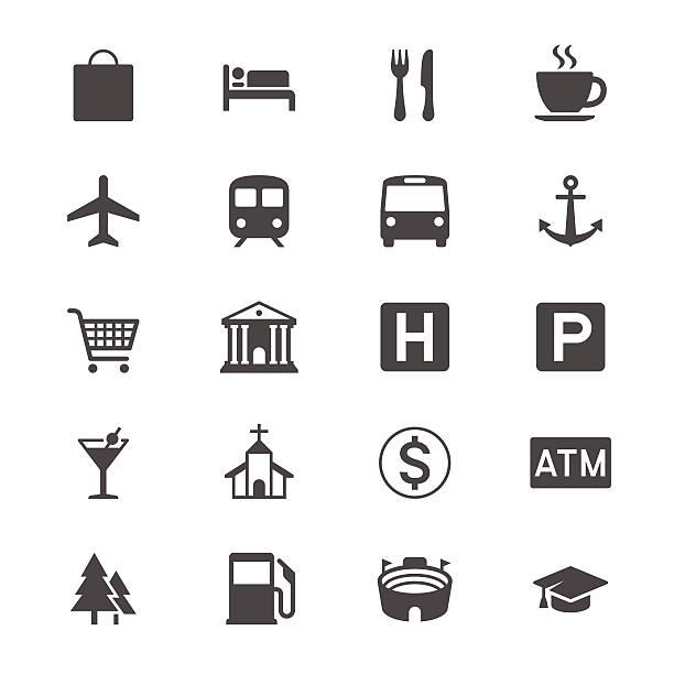Karte und Standort flache Symbole – Vektorgrafik