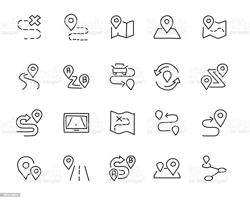 Map And Location Hand Drawn Icon Design Illustration Line Style Icon ...