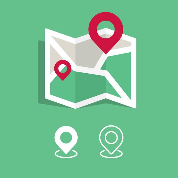 ilustrações, clipart, desenhos animados e ícones de mapa e localização ícone do design. design plano e fundo branco. - pin