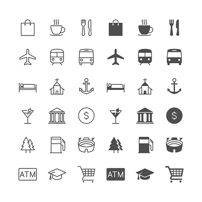 Map and location icons, included normal and enable state.