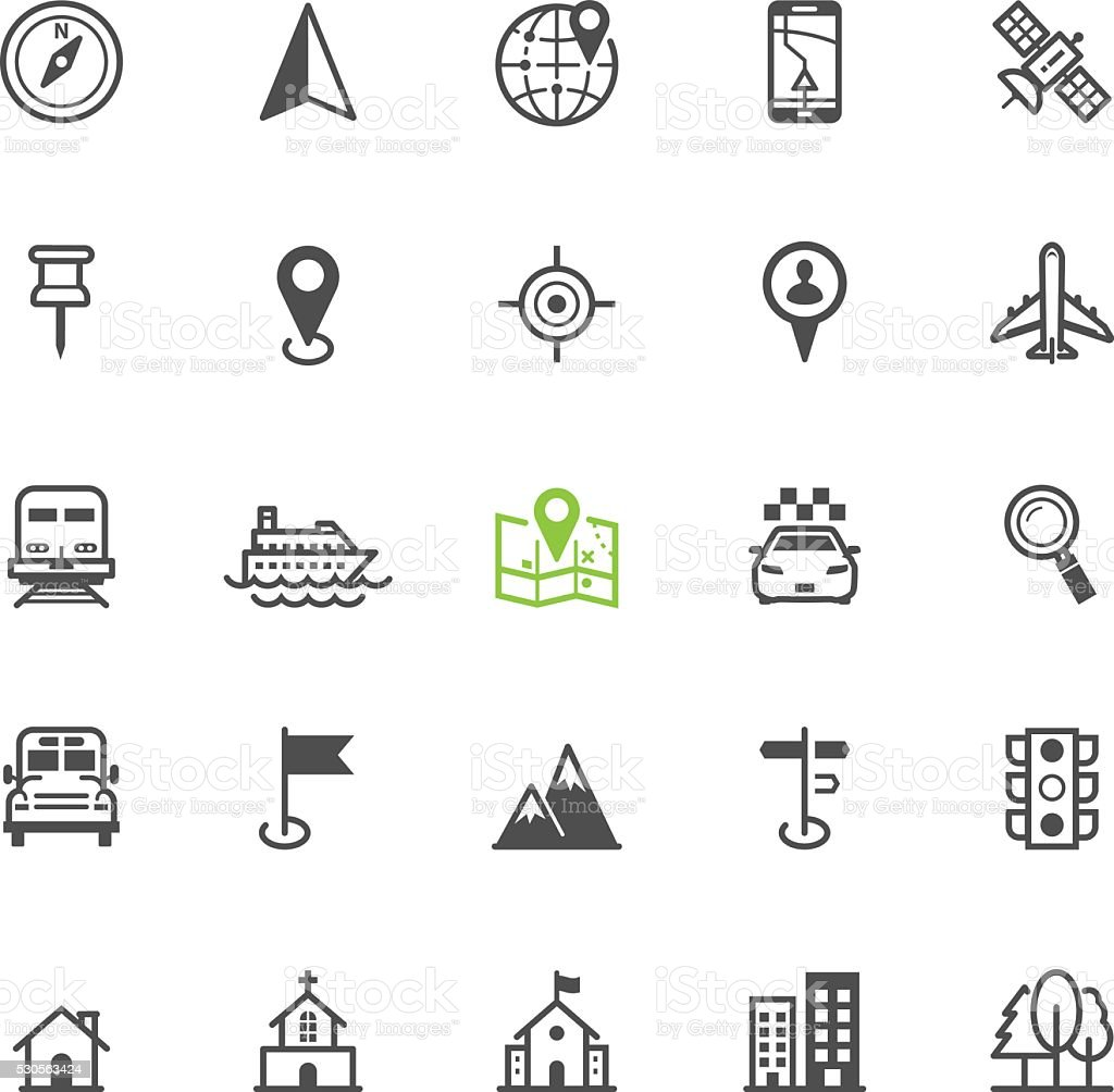 Map and location icons vector art illustration