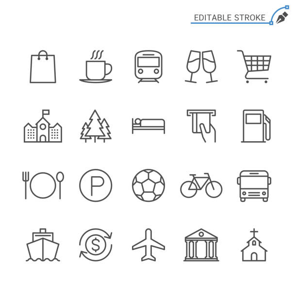 ilustrações, clipart, desenhos animados e ícones de ícones de linha mapa e localização. editável, acidente vascular cerebral. pixel-perfeito. - shopping