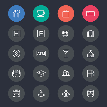 Map and location line icons