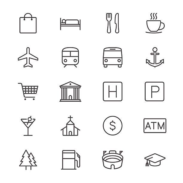 Karte und Standort dünne Symbole – Vektorgrafik