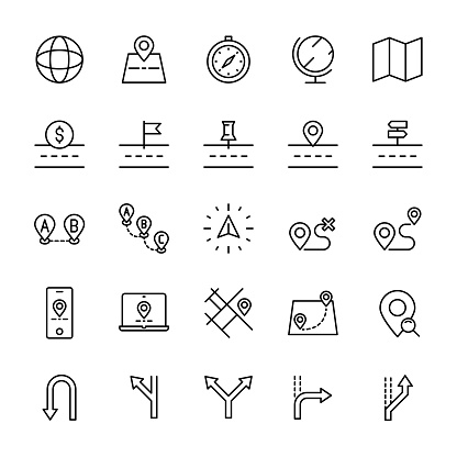 Map and navigation 25 line icons