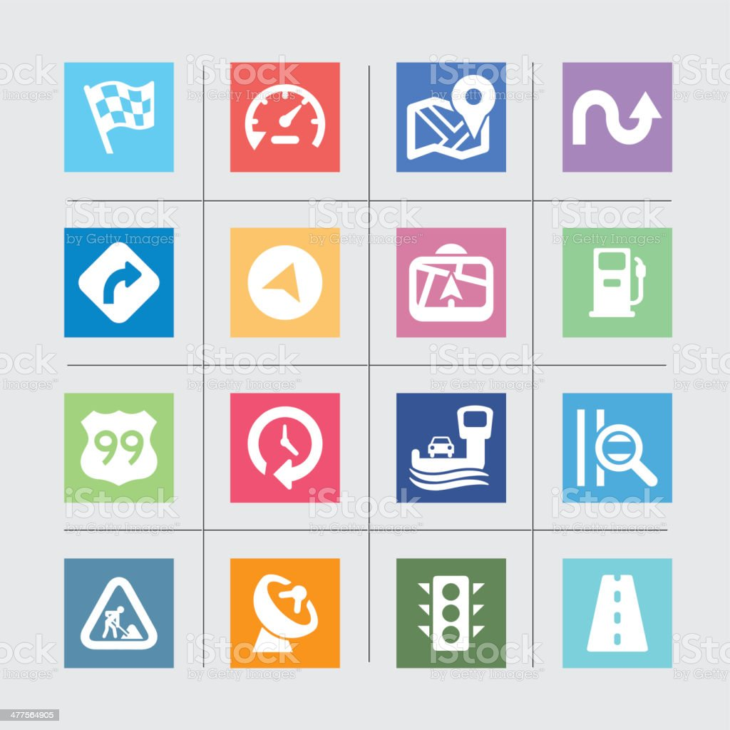 Map and Navigation Color Harmony icons royalty-free stock vector art