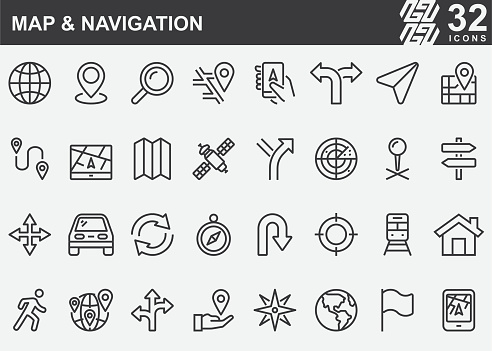 Map and Navigation Line Icons