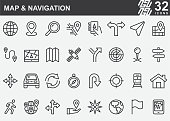 istock Map and Navigation Line Icons 1204588055