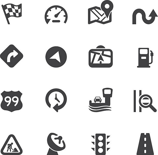 Map and Navigation Silhouette icons Map and Navigation Silhouette icons  eps 10 emergency equipment stock illustrations