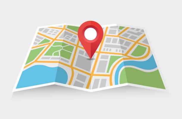 karte und zeiger - karte navigationsinstrument stock-grafiken, -clipart, -cartoons und -symbole