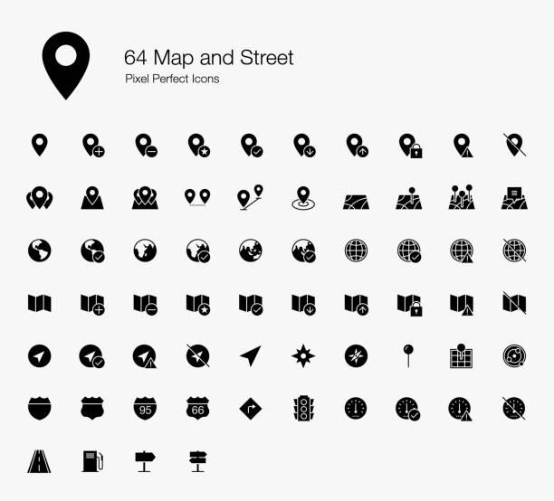 illustrazioni stock, clip art, cartoni animati e icone di tendenza di 64 mappa e icone street pixel perfette - near