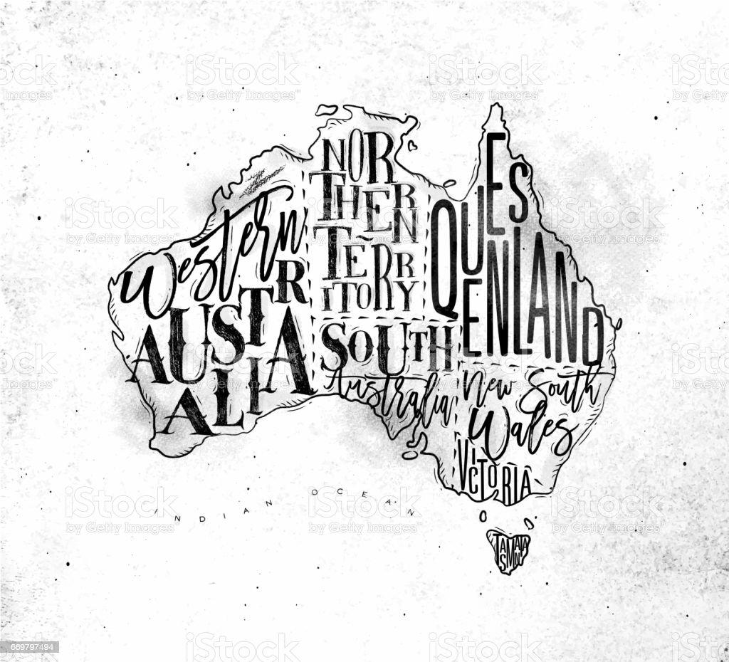Map Australia vintage vector art illustration